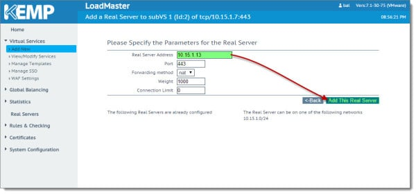 Kemp Virtual Load Balancer Modifying SubVS Exchange 2013 2016 C
