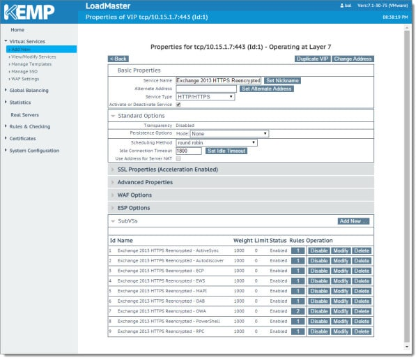 Kemp Virtual Load Balancer Modifying the Virtual Service VIP