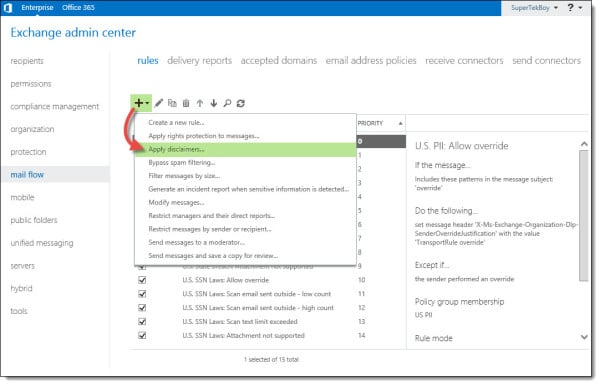 Add a legal disclaimer to all outbound email Exchange Office 365