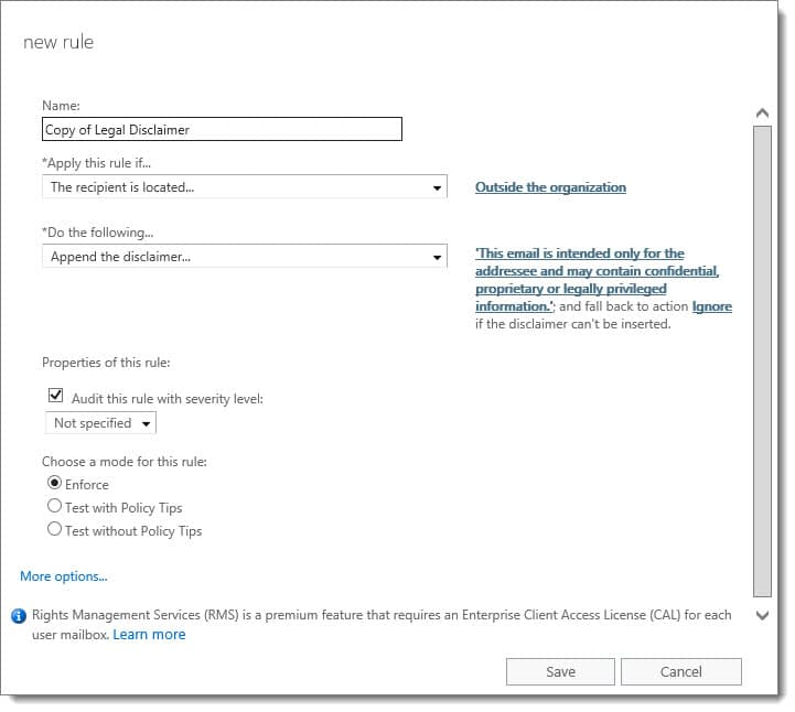 Add a legal disclaimer to all outbound email (Exchange/O365)