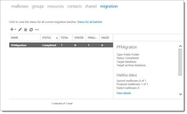 Exchange 2016 Public Folder Migration Batch Complete