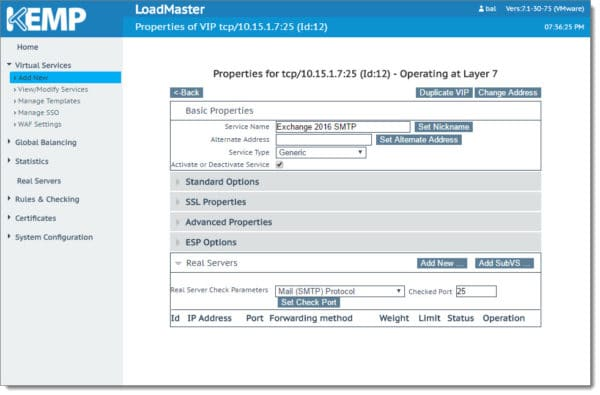 Creating the SMTP VIP for Exchange 2016 Kemp Load Master 3