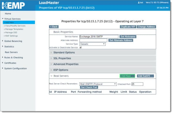 Creating the SMTP VIP for Exchange 2016 Kemp Load Master 4