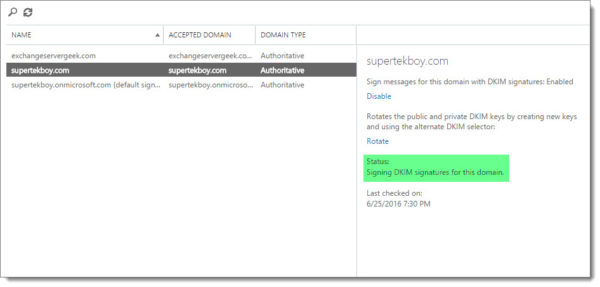 Office 365 Exchange Admin Center DKIM Enabled