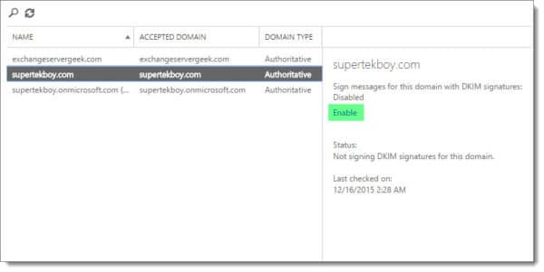 Office 365 Exchange Admin Center Enabling DKIM