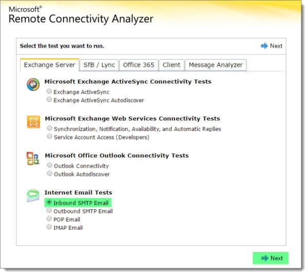 Remote Connectvitiy Analyzer Inbound SMTP Test