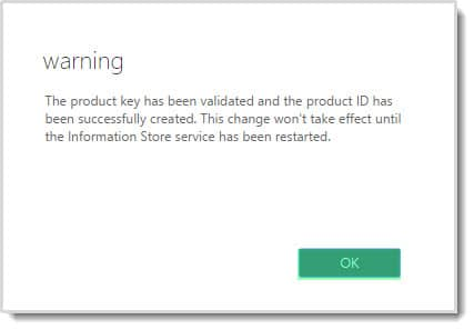 Exchange Admin Center Product Key Warning