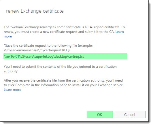 Renewing an Exchange certificate 3