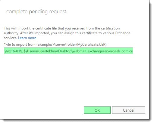 Renewing an Exchange certificate 6