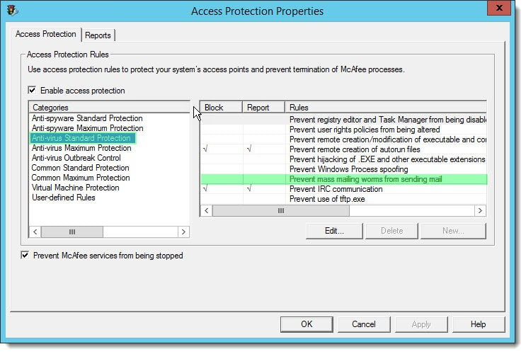 Disable mcafee access protection