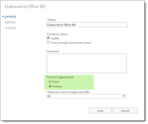 Configure verbose logging on Exchange 2016 send connector