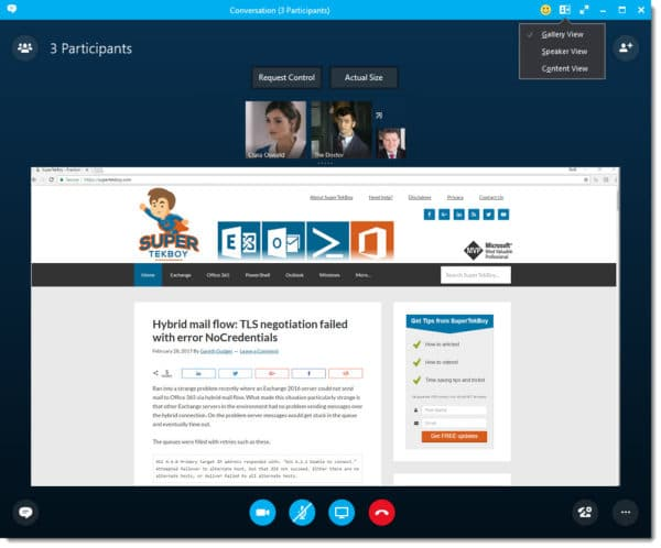Skype for Business Gallery View