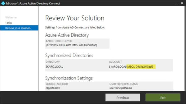 Azure AD Connect Synchronization Account