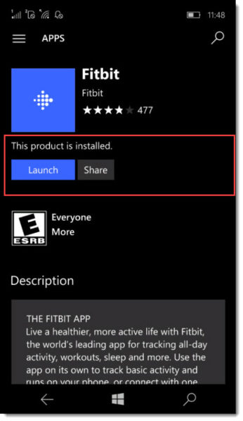 Install FitBit App on Windows Phone 10