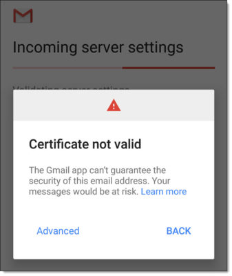GMail App fails to connect to Exchange - Certificate not valid
