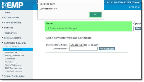 Installing Intermediary Certificate on Kemp Load Balancer LoadMaster B