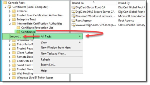 Installing an Intermediate Certificate in IIS B