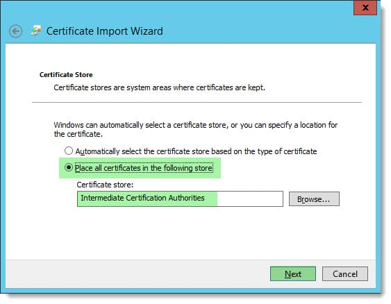 Installing an Intermediate Certificate in IIS C