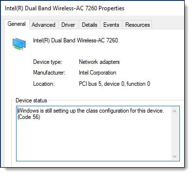 Windows is still setting up the class configuration for this device (Code 56)