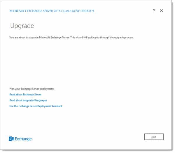 Exchange 2016 Cumulative Update 9