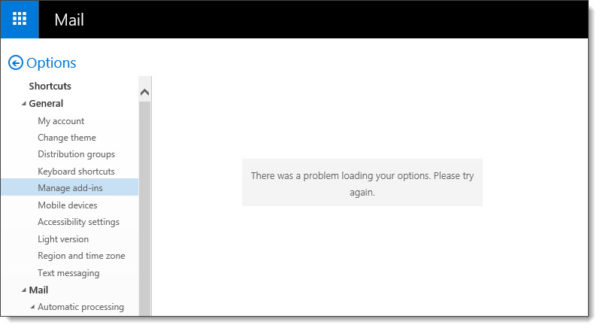 Outlook Web App - There was a problem loading your options