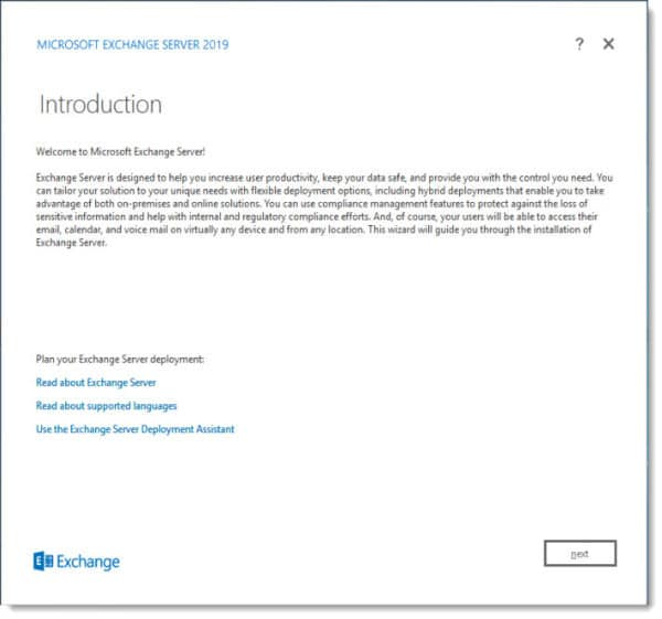 Exchange 2019 Setup Screen D