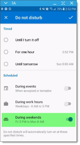Setting up Outlook for Android and iOS Do Not Disturb DND options F
