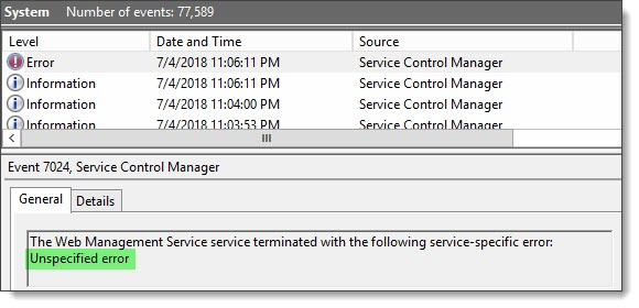 Web Management Service terminated with the following service-specified error unspecified error