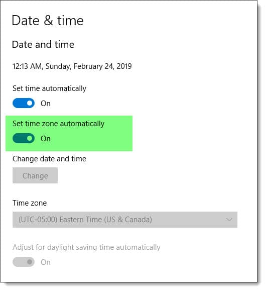 Set time zone automatically in Windows 10