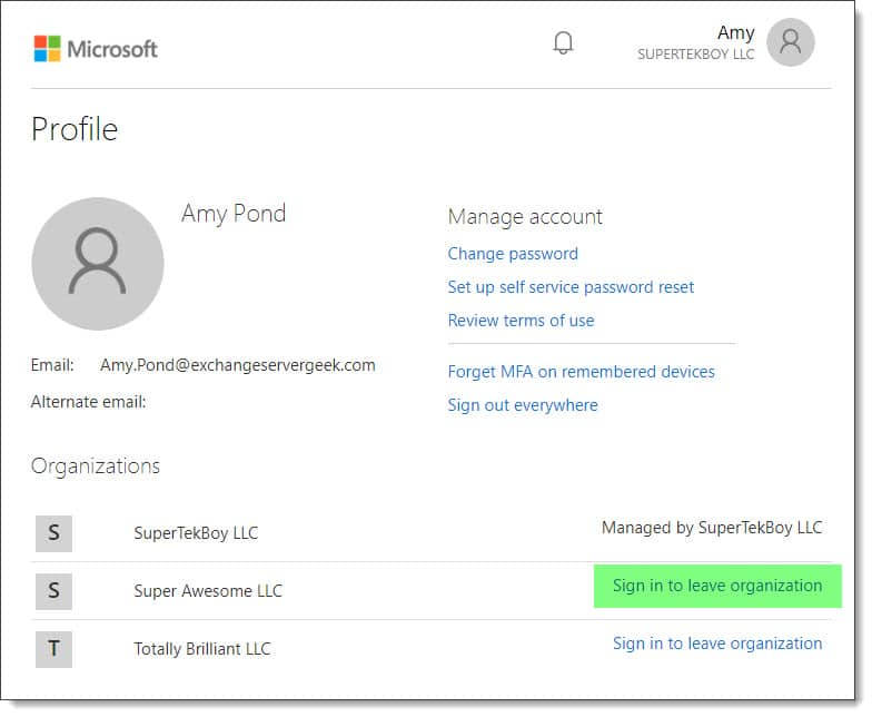 Remove your guest access to another Office 365 tenant B