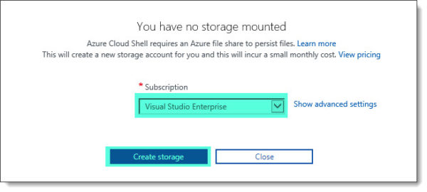 Cloud Shell storage subscription choice