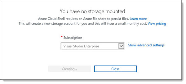 Cloud Shell Storage Creating