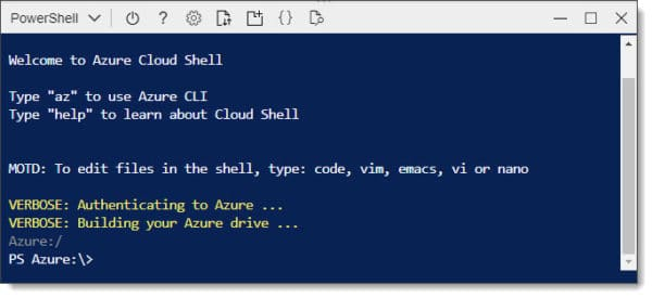 Configuring Azure Cloud Shell for the first time D