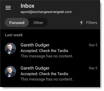 Outlook Mobile Inbox in Dark Mode Thumbnail 2