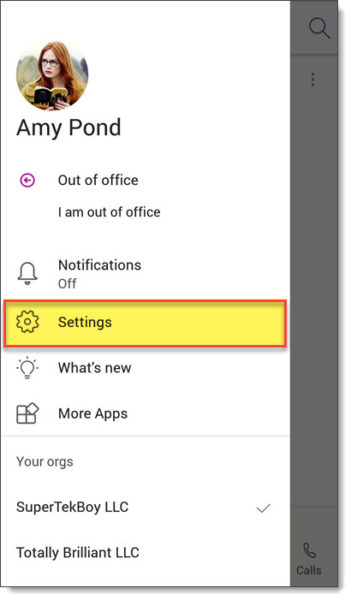 Accessing Microsoft Teams Mobile Settings Page