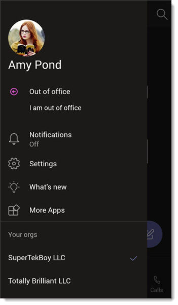 Microsoft Teams app in Dark Theme