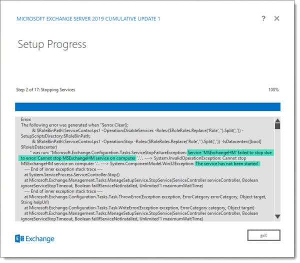 Exchange 2019 CU1 MSExchangeHM Failed to Stop