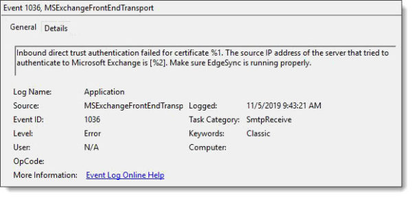 MSExchangeFrontEndTransport 1036 Application