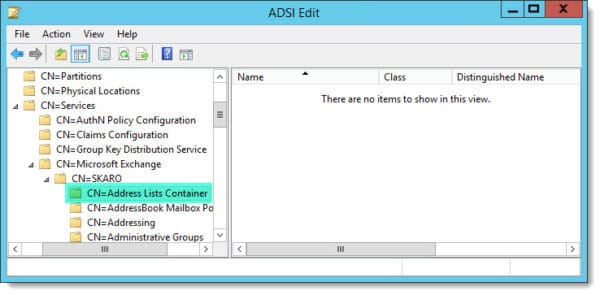 ADSI Edit Address List Container Empty