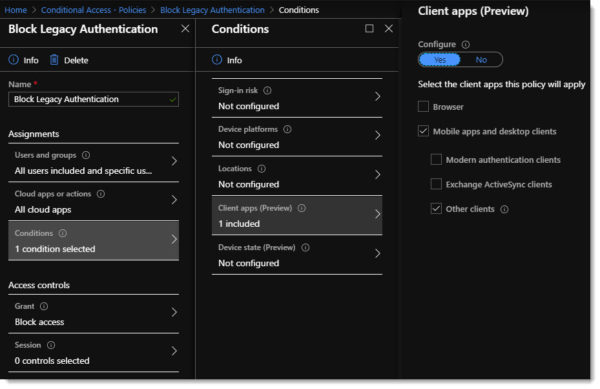 Conditional Access Policy - Block Legacy Authentication (Basic) 2