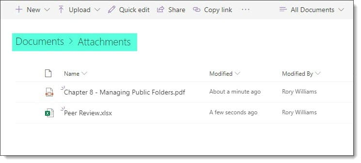 Outlook Web saving to SharePoint Online Document Library C
