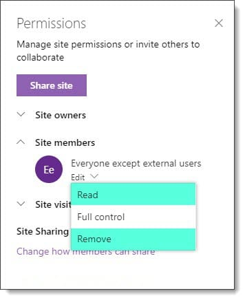 SharePoint Online Document Library default permissions B