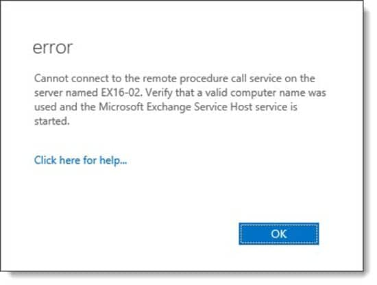 Cannot connect to the remote procedure call service on the server B