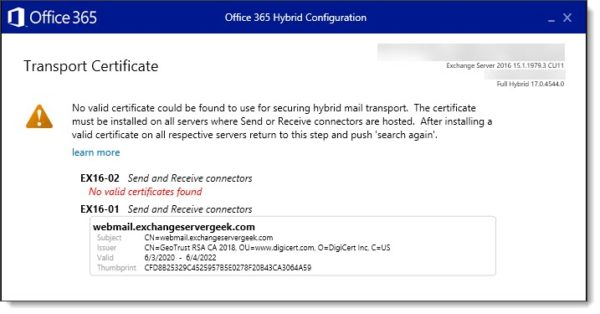 No valid certificate could be found to use for securing hybrid mail transport