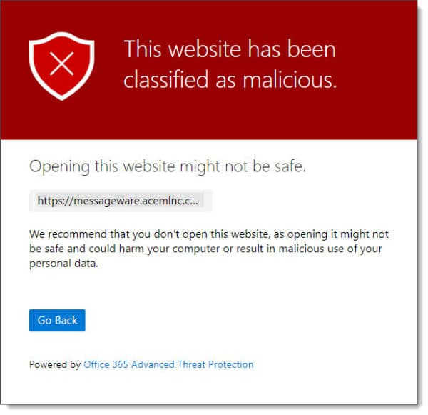 Office 365 ATP Safe Links Prohibiting Access to Malicious URL