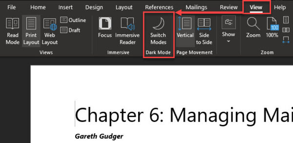 Microsoft Word Dark Mode - Turning off the lights