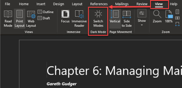 Microsoft Word Dark Mode - Turning on the lights