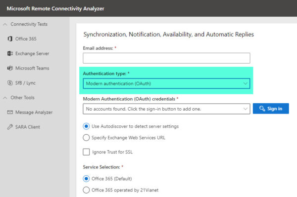 Microsoft Remote Connectivity Analyzer Supports Modern Authentication