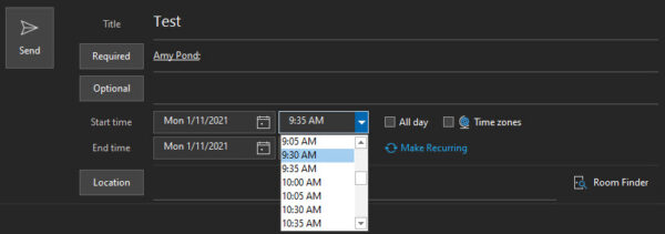Change the shortened time in Microsoft Outlook