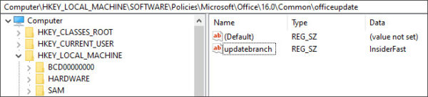 Registry Key to change to Office Beta Channel B